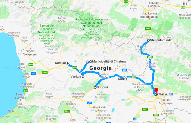 Georgia between myths and mountains, Map
